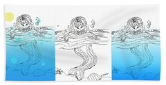 Three Mermaids All In A Row Hand Towel