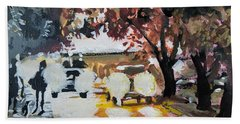 Bath Towel featuring the painting Early Morning Walk by Tilly Strauss