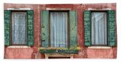 Three Windows With Green Shutters Of Venice Hand Towel