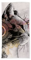 Tides Of Tomorrow - Mandala Tabby Cat Drawing, Animal Portrait Bath Towel