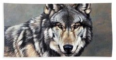Timber Wolf By Alan M Hunt Hand Towel