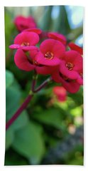 Tiny Red Flowers Hand Towel