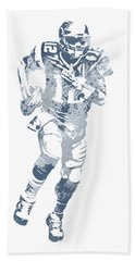 Tom Brady New England Patriots Water Color Pixel Art 15 Hand Towel