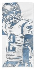 Tom Brady New England Patriots Water Color Pixel Art 30 Hand Towel
