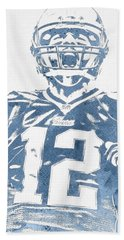 Tom Brady New England Patriots Water Color Pixel Art 31 Hand Towel