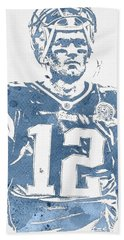 Tom Brady New England Patriots Water Color Pixel Art 32 Hand Towel