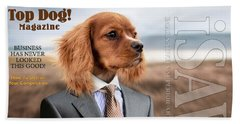 Bath Towel featuring the digital art Top Dog Magazine by ISAW Company
