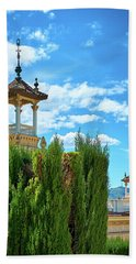 Bath Towel featuring the photograph Towers And Blue Sky From Montjuic In Barcelona by Eduardo Jose Accorinti