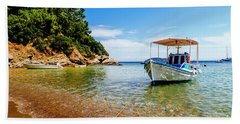 Traditional Colorful Boats In Old Town Of Skiathos Island, Spora Bath Towel