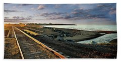 Train Tracks By The Ocean Bath Towel