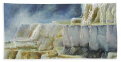 Travertine Terraces - Mammoth Hot Springs, Yellowstone National Park Hand Towel