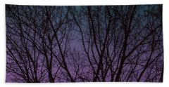 Tree Silhouette Against Blue And Purple Hand Towel