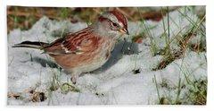 Tree Sparrow In Snow Hand Towel
