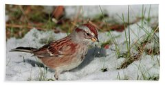 Tree Sparrow In Snow Bath Towel