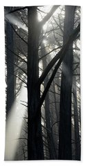Trees And Fog Bath Towel