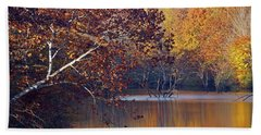Bath Towel featuring the photograph Trees At The Water's Edge by Mike Murdock