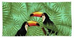 Tropical Forest - Toucan Birds - Tropical Palm Leaf Pattern - Leaf Pattern - Tropical Print 1 Hand Towel