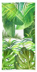 Tropical Leaf Pattern 02- Banana, Palm Leaf, Monstera Leaf - Green, Freshness, Tropical, Botanical Bath Towel