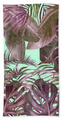 Tropical Leaf Pattern 03- Banana, Palm Leaf, Monstera Leaf - Purple, Freshness, Tropical, Botanical Bath Towel