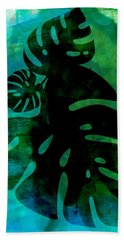 Tropical Monstera Leafs Watercolor Hand Towel