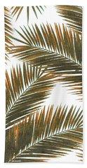 Tropical Palm Leaf Pattern 6 - Tropical Wall Art - Summer Vibes - Modern, Minimal - Brown, Copper Hand Towel
