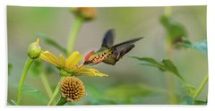 Bath Towel featuring the photograph Tufted Coquette Feeds On Sunflowers by Rachel Lee Young