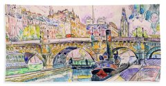 Tugboat At The Pont Neuf, Paris - Digital Remastered Edition Hand Towel