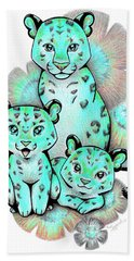 Turquoise Leopards Hand Towel