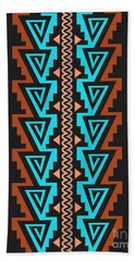 Turquoise Triangle Pattern Hand Towel