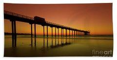 Twilight On The Beach Scripps Pier La Jolla San Diego Ca Hand Towel