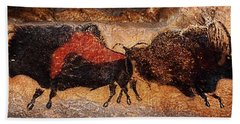 Two Bisons Running Bath Towel