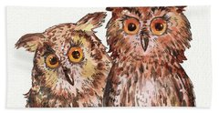 Two Brothers Baby Owls Watercolor Bath Towel
