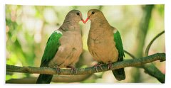 Two Colourful Doves Resting Outside On A Branch. Hand Towel