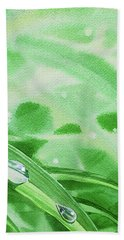 Two Dew Drops Green Watercolor Bath Towel