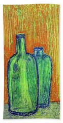 Two Green Bottles Hand Towel