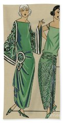 Two Green Dresses With Embroidery Designed By Alice Bernard, Print From Tres Parisien, 1923  Bath Towel
