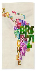 Typography Map Of Latin America, Mexico, Central And South America Bath Towel
