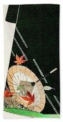 Umbrella Design Kimono - Japanese Traditional Pattern Design Bath Towel