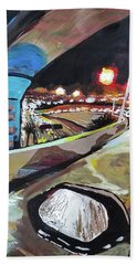 Hand Towel featuring the painting Underpass At Nighht by Tilly Strauss