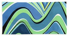 Untitled  Abstract Blue And Green Bath Towel