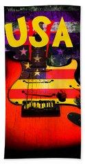 Usa Flag Guitar Purple Stars And Bars Hand Towel
