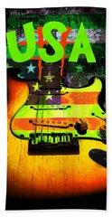 Usa Strat Guitar Music Green Theme Bath Towel