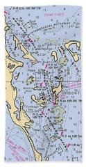Useppa,cabbage Key,cayo Costa Nautical Chart Bath Towel
