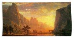 Valley Of The Yosemite  Albert Bierstadt Bath Towel