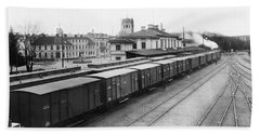 Vaxjo  Smaland  Sweden A Goods Train At The Railway Station In Vaxjo In The Background Vaxjo Cathed Bath Towel