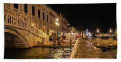 Venice At Night. San Marco Bath Towel