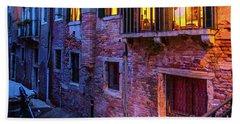 Venice Windows At Night Bath Towel