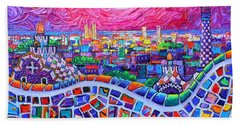 Vibrant Barcelona Night View From Park Guell Modern Impressionism Knife Painting Ana Maria Edulescu Bath Towel