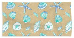 Vibrant Seashell Pattern Tan Sand Background Hand Towel