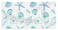 Vibrant Seashell Pattern White Background Hand Towel